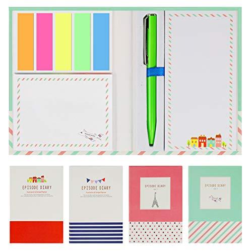 792 Stk 4 Set Haftmarker Haftnotizen Haftstreifen, mit einem Kugelschreiber, Marker Page PET Tab Index Selbstklenbende Notizzettel Klebezettel Lesezeichen für Büro und Studenten