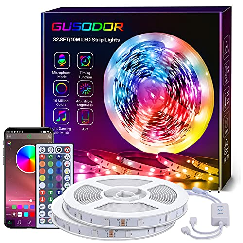 GUSODOR Bluetooth Striscia Led 10 Metri RGB, Luci Led Colorati con Controllo APP, Smart Strisce con 44 Tasti Telecomando IR, Musica Strip Led, Nastri Luminosi da Casa/Cucina/Festa/TV/Decorazione/Bar