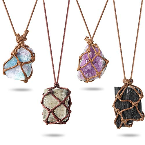 Hicarer 4 Pieces Natural Crystal Pendant Necklace Stone...