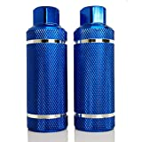 WADEKING Bike Pegs 4.3' Length,2 Pieces,Suitable for 3/8 inch Axles, Free-Style BMX Bicycles and Various Bicycles, Durable and Stylish Non-Slip (Upgraded Version Aluminum Alloy) (Blue)