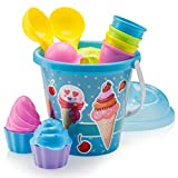 Top Race Beach Toys, Sand Toys, 16 Piece Ice Cream Mold Set for Kids 3-10 with Large 9' Beach Toy Bucket Pail for Kids and Toddlers (Blue)