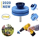 【NEW UPGRADE】 Universal Multi-Sharp Rotary Double Layer Lawn Blade Mower Sharpener for Power Drill Hand Drill, Double-Layer Grindstone, for Garden, Courtyard, Kitchen, Protect Your Fingers - 3 Pack