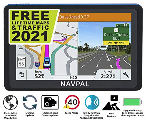 SLIMLINE SAT NAV, (7 INCH) with 2021 UK & WORLD MAPS EDITION + FREE Lifetime Updates [100% no hidden fees], GPS Navigation for Car Truck Motorhome, Features Postcodes, Speed Cam Alerts, Lane Guidance