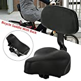 Ethedeal Comfort Black Bike Saddle Bicycle Cycling Seat Cushion Pad Comfortable with Back Backrest (Black)
