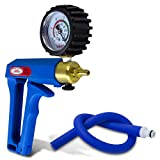 LeLuv Vacuum Pump Blue Maxi Ergonomic Handle with Protected Gauge with Release Valve with Matching Premium Silicone Hose and Fitting
