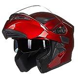 ILM Motorcycle Dual Visor Flip up Modular Full Face Helmet DOT with 6 Colors (M, RED)