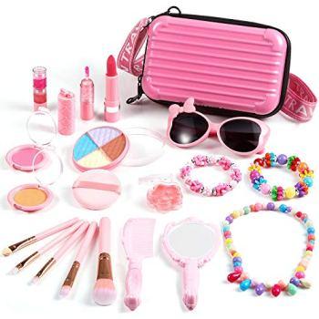 ARANEE Maquillage Enfant Jouet Fille, 20 PCS Kit de Maquillage avec Jolie Boîte Cadeau de Noël Anniversaire Princesse Jouet Fille 3 4 5 6 Ans