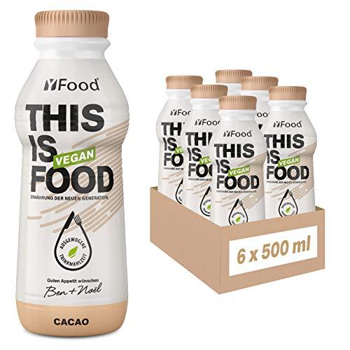 YFood Vegan Cacao   Laktose- und glutenfreier Nahrungsersatz   26g Protein, 26 Vitamine & Mineralstoffe   Astronautennahrung - 25% des Kalorienbedarfs   Trinkmahlzeit, 6 x 500 ml   1,50 € Pfand inkl.