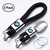 Hey Kaulor 2Pack Genuine Leather Car Logo Keychain for BMW Key Chain Accessories Keyring with Logo