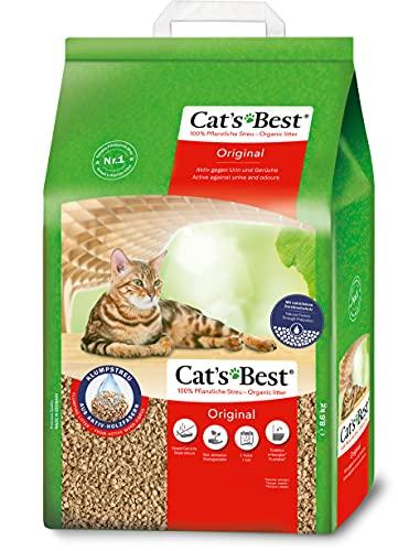 Cat's Best Original | Arena para Gatos Aglomerante 20L (8,6 kg). Tierra para Gatos de Hasta 7 Semanas de Uso. Arena Biodegradable de Fibra Vegetal Ecológica.