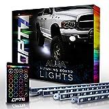 OPT7 Aura LED Running Board Lights - Nerf Light Side Bar Step Kit for Trucks, SUVs, RV, Big Rigs - 4 Guard Light Bars, 16 Color Options, Flash Settings, Sound Sync Mode & 1 Remote - 1 YR Warranty