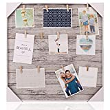 HANTAJANSS Clip Photo Holder, Photo Collage Frame, Large Picture Display Frame with 12 Wood Clothespin Clips for Hanging Home Decoration 20 ×20 inches Grey