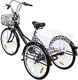 Yonntech Ambienceo Triciclo para Adultos 24' 7 velocidades Bicicleta para Adultos Bicicleta 3 Ruedas Bicicleta Ciudad Bicicleta Mujer con Cesta (Negro)