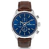Vincero Luxury Men's Chrono S Wrist Watch - Top Grain Italian Leather Watch Band - 43mm Chronograph Watch - Japanese Quartz Movement (Blue/Brown)