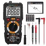 Multimètre, Testeur Electrique Manuel, TRMS 6000 Points Ampèremètre Voltmètre, Lampe Torche, NCV , Température Capacimètre Tension Courant AC DC Résistance VFC Tacklife DM01M
