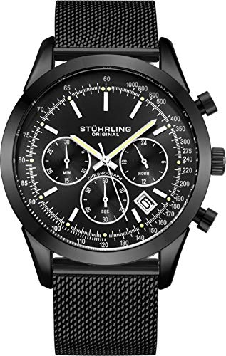 Stuhrling Original Herrenchronograph, Edelstahl-Maschenband und wasserdicht bis 100 M. (Black/Black)