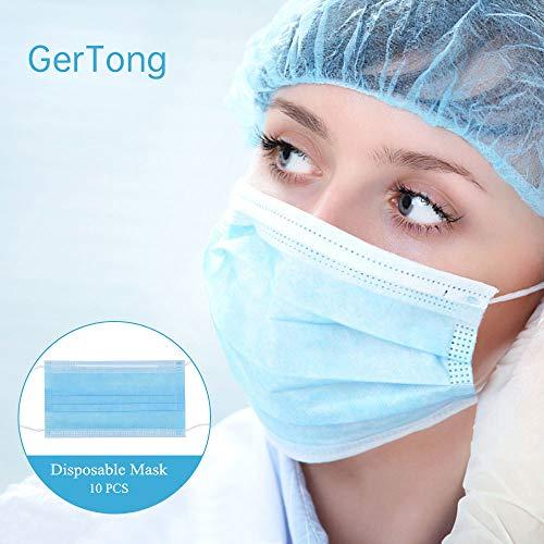 GerTong - Maschera usa e getta a 3 strati, con passanti per le orecchie, protegge dallo sporco (blu), 10 pezzi