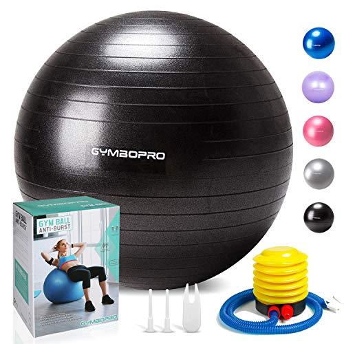 GYMBOPRO Fitness Pelota de Ejercicio,Bola Suiza con Bomba de Inflado,Bola de Yoga...