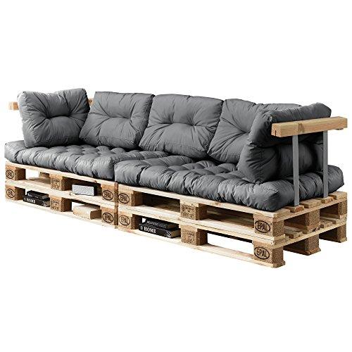 [en.casa] Cuscini per Paletta Euro-sof tavolozze - 7 Pezzi - Cuscino Seduta + Cuscino Schienale [Grigio Chiaro] Divano Paletta Euro-sof in/Outdoor