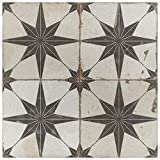 SomerTile FPESTRN Reyes Astre Ceramic Floor and Wall, 17.625' x 17.625', Nero Tile, 5 Piece