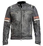 Men's Vintage Motorcycle Cafe Racer Retro Moto Distressed Leather Jacket Grey Size XL