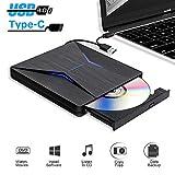 Lecteur DVD Externe USB 3.0 Graveur CD/DVD Externe,Portable USB C CD DVD +/-RW ROM Player Compatible Windows 10/8 /7, Mac,MacBook Air/Pro, PC, Laptop,Desktops