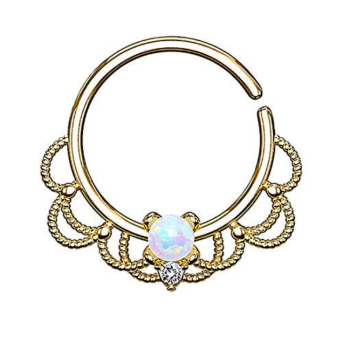 Piercingfaktor Piercing Ring Continuous Tribal mit Opal Ohr Nase Lippe Brust Intim Septum Tragus Helix Hufeisen Horseshoe Gold Weiß