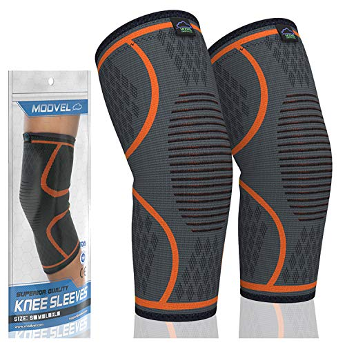 MODVEL 2 Pack Knee Compression Sleeve | Best Knee Brace | Knee Support for Arthritis, ACL, Meniscus Tear, Running, Biking, and Sports | Joint Pain Relief.