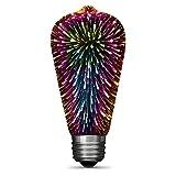 FEIT Electric ST19/PRISM/LED Infinity 3D Fireworks Effect ST19 LED Light Bulb, 5.4' H x2.5 D, Multicolor