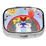 Two Hedgehogs Rainbow Pill Box CaseSquare Tablet Medicine Pocket Purse Travel Píldora VitaminBox Estuche