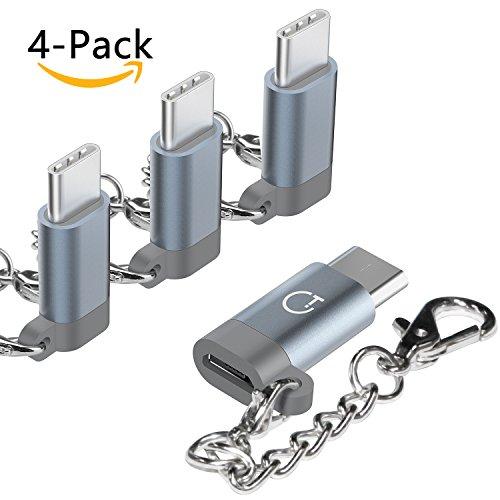 Gritin Adattatore USB C, 4 Pezzi Adattatore Connettore Convertitore USB C a Micro USB in Alluminio con Portachiavi