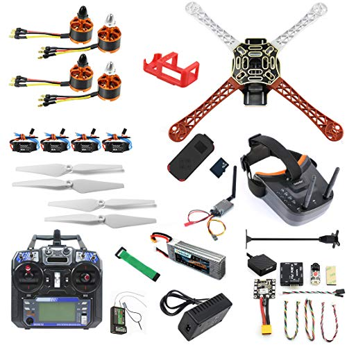 QWinOut DIY RC Drone Kit F450-V2 FPV Quadcopter with MINI PIX MINI GPS Q6 4K Wide Angle Action Camera FPV Watch/FPV Goggles Full Set Drone Kit (FPV Watch Version) (FPV Goggles Version)