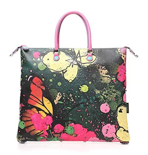 GABS Borsa Pelle G3 M Media Shopping trasformabile stampa Farfalle Primavera donna