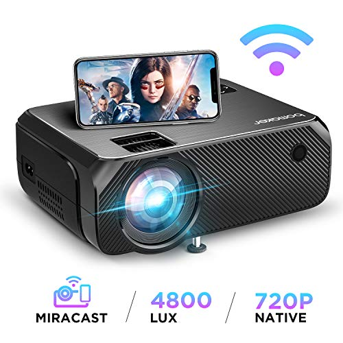 BOMAKER WiFi Beamer 4800 Lumen Wireless Projektor Unterstützt 1080P Full HD Native 720p Max. 250\'\' Display Mini LED Beamer kompatibel mit iPhone/Android Smart Phone/iPad/Mac/Laptop/PC