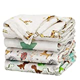 Baby Swaddle Blanket Upsimples Unisex Swaddle Wrap Soft Silky Bamboo Muslin Swaddle Blankets Neutral Receiving Blanket for Boys and Girls, 47 x 47 inches, Set of 4 - Fox/Elephant/Giraffe/Dinosaur