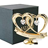 Matashi 24K Gold Plated Happy Anniversary Double Heart Figurine Ornament with Genuine Crystals (Clear Crystal) - Wedding Gift for Couples, for Husband Wife Mother Father, Cake Topper, Romantic Gifts
