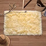 YJ.GWL Super Soft Faux Fur Area Rug (2'x3') for Bedroom Sofa Living Room Fluffy Bedside Rugs Home Decor Rectangle Pale Yellow
