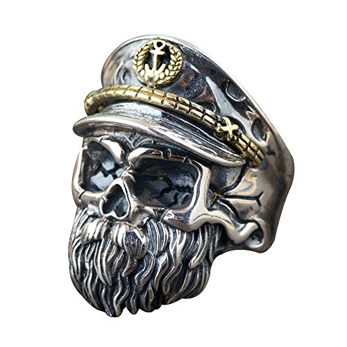 FORFOX Two Tone 925 Sterling Silver Skull Beard Ring with Hat for Men Boys Adjustable Size Q 1/2-V 1/2 (Jewellery)