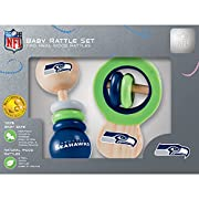 Officially Licensed NFL Product Includes two Seattle Seahawks solid wood rattles Perfect for all ages - Helps promote growth and development 100% Baby Safe made with real wood, non-toxic colors & finishes, and free of BPA, phthalates, & formaldehyde ...