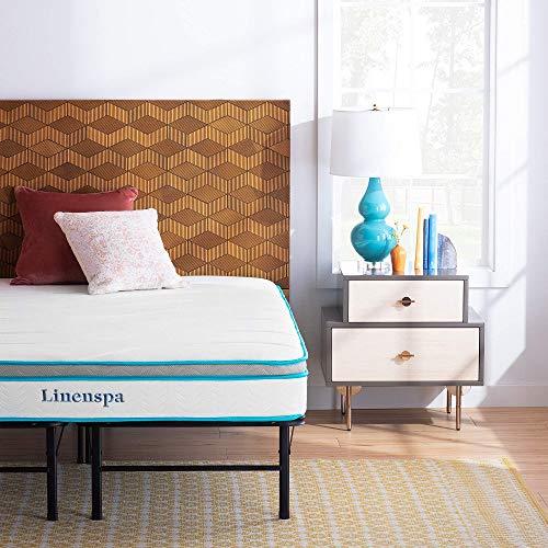 Linenspa 8 Inch Memory Foam and Innerspring Hybrid Mattress with Linenspa 14 Inch Folding Platform Bed Frame, Twin XL