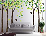 Amaonm 104'x71' Giant Large Jungle 5 Trees Wall Decals Green Leaves and Fly Birds Wallpaper Wall Decor DIY Vinyl Wall Stickers for Kids Bedroom Living Room Nursery Rooms Offices Walls (Brown Tree)