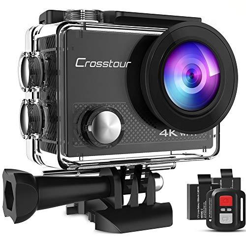 Crosstour Action Cam CT9000,4K/20MP WiFi Telecomando,Fotocamera Subacquea Impermeabile 40M,Stabilizzazione Videocamera,19 accessori Grandangolo 170 °