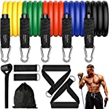 Exercise Bands Resistance Bands Set with Bigger Handles and Bag, Upgraded Workout Bands with More Resistance for Women and Men (Black red Yellow Green Blue)