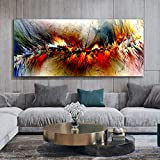 wZUN Pintura al óleo Abstracta Naranja piense en el Lienzo de la Sala de Estar para un Mural Independiente póster de Arte Moderno e impresión en casa 50x115cm