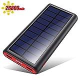VOOE Batterie Externe Chargeur Solaire 26800mAh [Haute efficacité et Grande capacité] Power Bank...