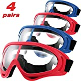 4 Pairs Protective Goggles Safety Glasses Eyewear for Teens Game Battle Hiking and Sand Prevention(Blue, Red)