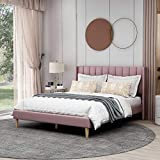 Upholstered Platform Bed Frame Queen Size with Headboard and Footboard/Wooden Slats Support/No Box Spring Needed/Easy Assembly,Pink