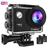 Crosstour Action Camera 1080P Full HD Wi-Fi 12MP Waterproof Cam 2' LCD 30m Underwater 170°Wide-Angle Sports Camera with 2 Rechargeable 1050mAh Batteries and Mounting Accessory Kits (CT7000-U)