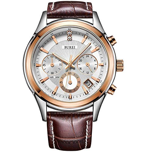 BUREI Herren Chronograph Quarz Uhr Herren Armbanduhr Lederarmband braunes Herrenuhr Analog Datum