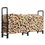 8ft Firewood Rack Outdoor Heavy Duty Log Rack Firewood Storage Rack Fire Wood Rack Holder Steel Tubular for Indoor Outdoor Fireplace Tool for Patio Deck Log Storage Stand